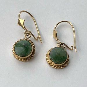 Jewelry - 14K Yellow Gold Jade Earrings